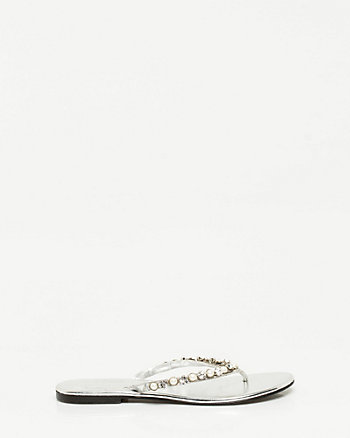Metallic Faux Leather Flip Flop