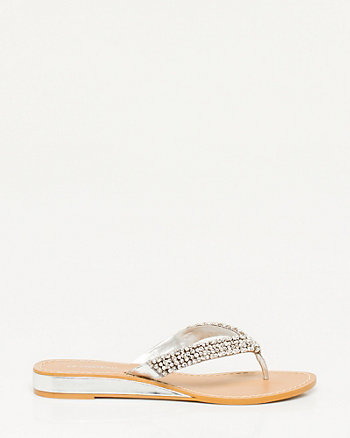 Metallic Leather-Like Thong Wedge