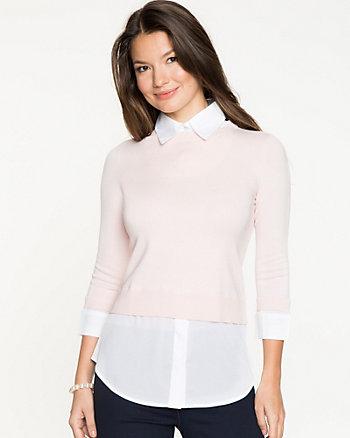Knit & Woven Combo Sweater