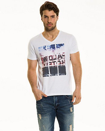 Placement Print Cotton Blend T-Shirt