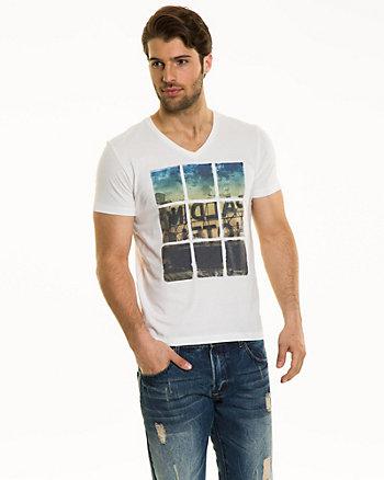 Placement Print Cotton Blend T-Shirt