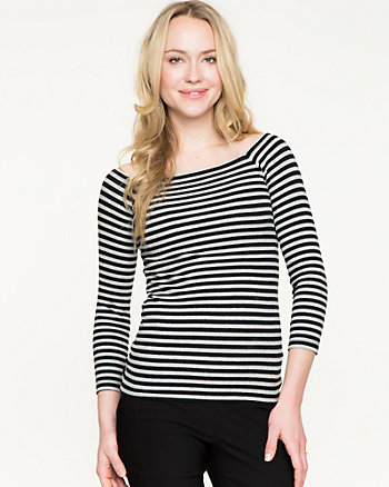 Stripe Knit Boat Neck Top