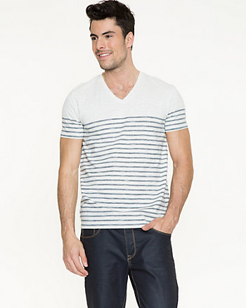 Stripe Cotton Blend T-Shirt