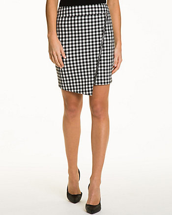 Gingham Asymmetrical Hem Skirt