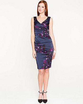 Floral Satin V-Neck Dress