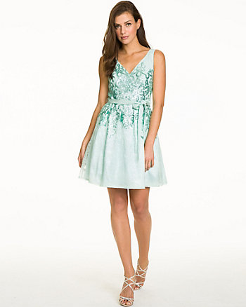 Lace & Sequin V-Neck Cocktail Dress
