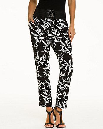 Tropical Print Rayon Slim Leg Pant