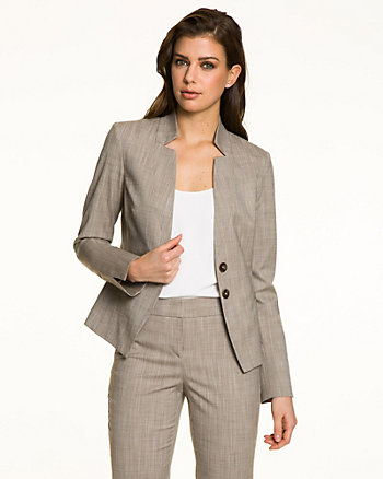 Crosshatch Inverted Collar Blazer