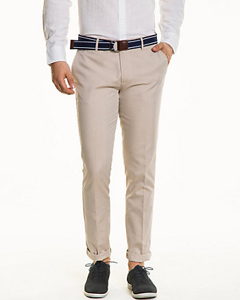 Two-Tone Cotton Blend Belted Pant