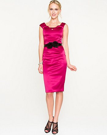 Stretch Satin Cutout Fitted Dress