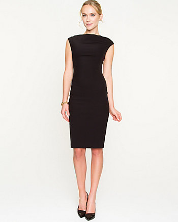 Double Weave Boat Neck Shift Dress