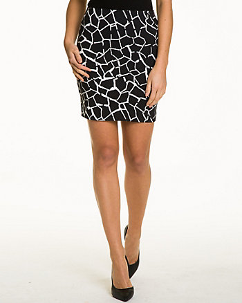Giraffe Print Stretch Woven Mini Skirt