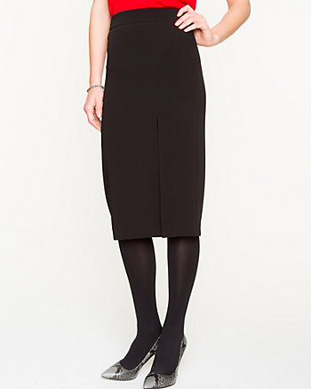 Knit Side Slit Midi Pencil Skirt