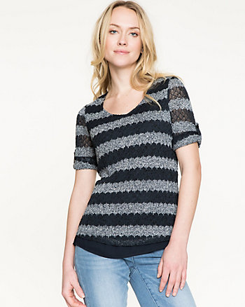 Knit & Crêpe de Chine Combo V-Neck Top