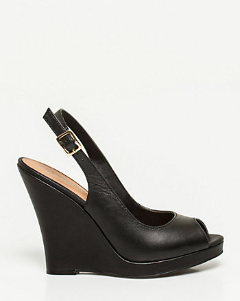 Leather Peep Toe Wedge Slingback