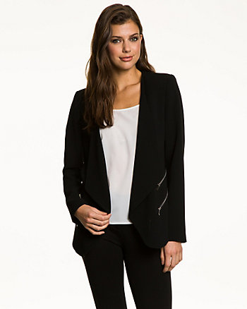 Woven Collarless Open-Front Blazer