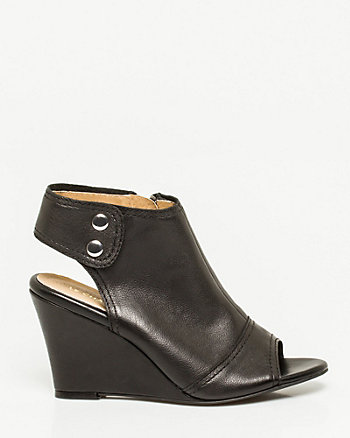 Leather Peep Toe Wedge Shootie