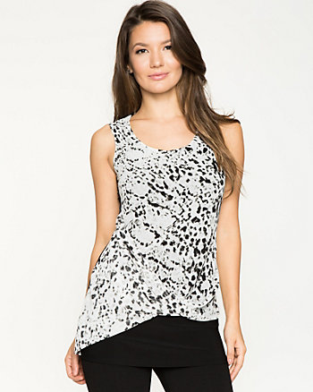 Leopard Print Chiffon & Knit Combo Top