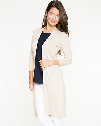 Viscose Blend Open-front Long Cardigan