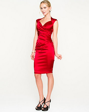 Stretch Satin V-Neck Dress