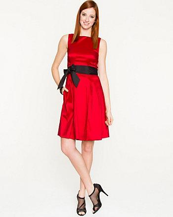 Stretch Taffeta Belted Dress