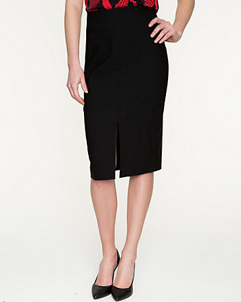 Stretch Woven High Waist Pencil Skirt