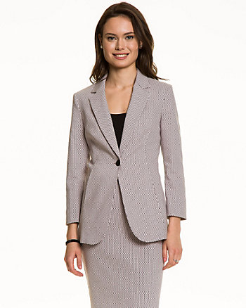 Stretch Jacquard Notch Collar Blazer