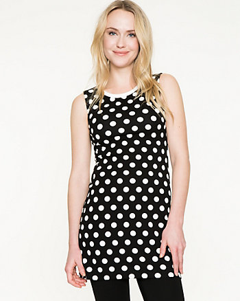 Polka Dot Ponte Sleeveless Tunic