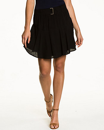 Challis Pleated Fit & Flare Skirt
