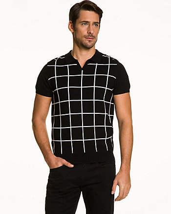 Windowpane Check Knit Polo