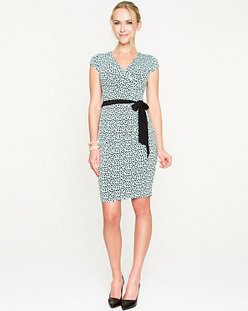 Brushstroke Print Knit Faux Wrap Dress