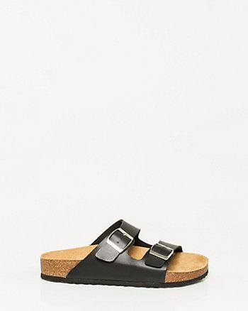 Leather-Like Double Band Sandal