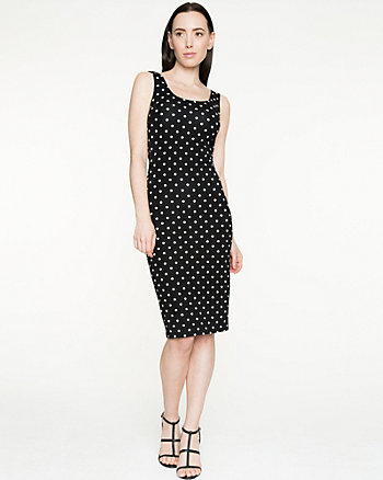 Polka Dot Ponte Scoop Neck Dress