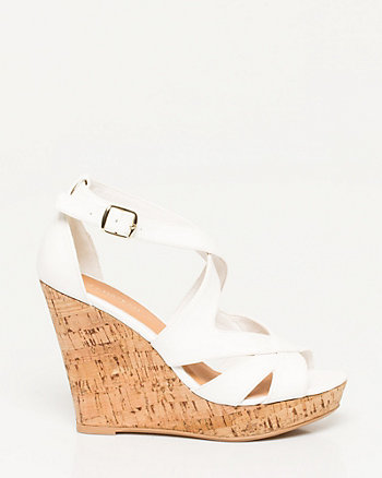 Faux Leather Cutout Wedge