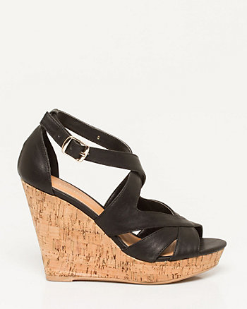 Leather-Like Cutout Wedge