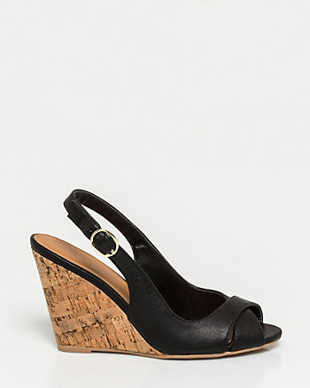Faux Leather Peep Toe Wedge Sandal