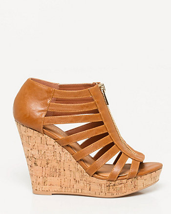 Leather-Like Gladiator Platform Wedge