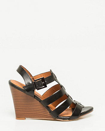 Faux Leather Gladiator Wedge