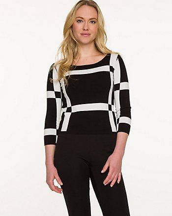 Geo Print Crop Sweater