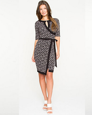 Geo Print Knit Faux-Wrap Dress