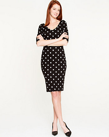 Polka Dot Double Knit Midi Dress