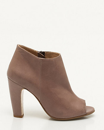 Italian-Made Leather Peep Toe Shootie