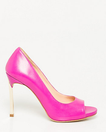Italian-Made Leather Peep Toe Pump