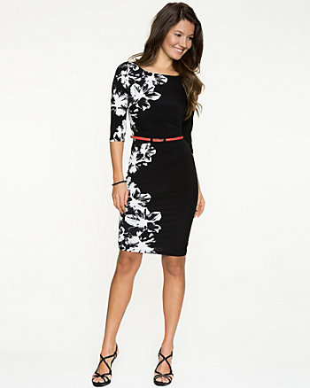 Floral Print Knit Belted Dress