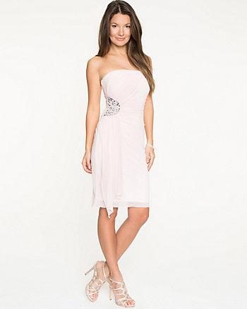 Embellished Waist Knit Strapless Dress