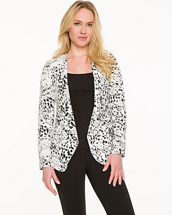 Abstract Print Collarless Blazer
