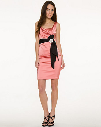 Satin Scoop Neck Cocktail Dress