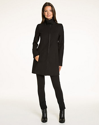 Double Knit Funnel Neck Coat
