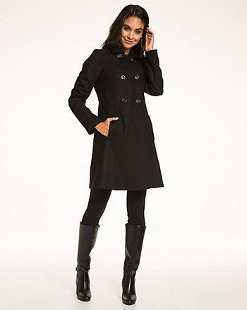 Melton Button-Front Coat