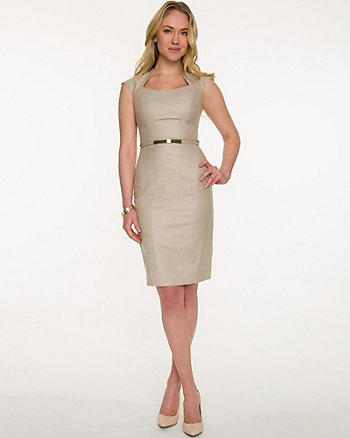 Twill Belted Mao Collar Dress